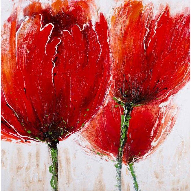 Drie Fel Rode Bloemen Schilderij Verf Voorbeelden