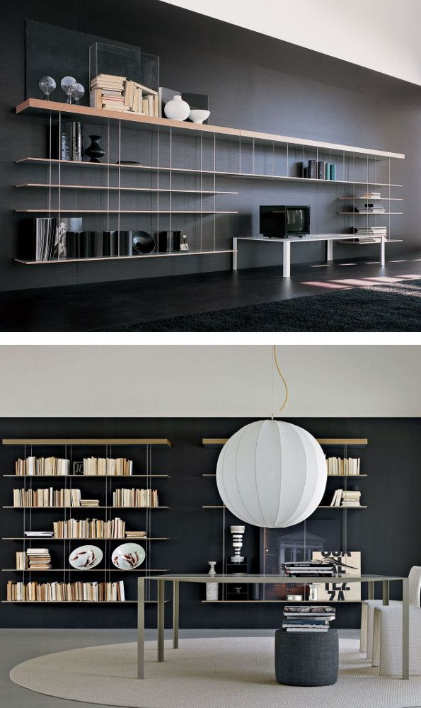 Floating steel and wood #bookcase GRADUATE by MOLTENI & C. | #design Jean Nouvel @moltenidada