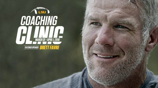 BATON ROUGE – NFL great and future Hall of Famer Brett Favre will be the headline speaker at this year's LSU Football Coaches Clinic, which will be held on the LSU campus March 31-April 2.