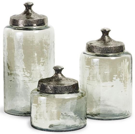 Round Luster Canisters   Set of 3   Perfect for holding bath or vanity items. 17  images about Bath Canisters on Pinterest   Mercury glass