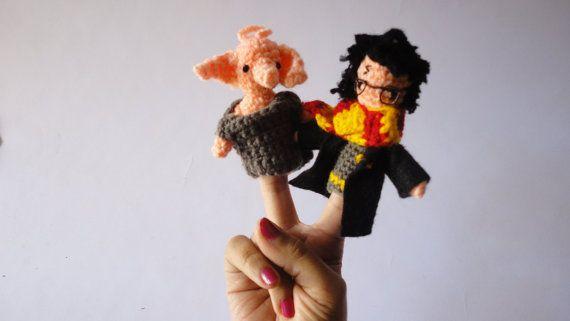 Burattini di Harry Potter di dito Hogwarts regalo speciali ventilatori di uncinetto di potter amigurumi crochet bambino giocattolo guidata Grifondoro Deathly Hallow