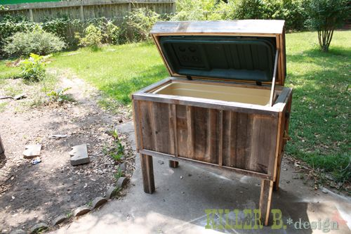 Cooler transformed to backyard ice chest for under $30