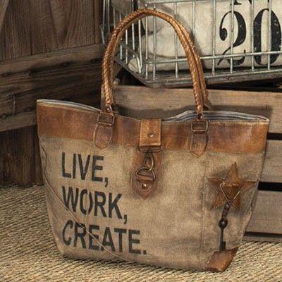 Live Work Create Canvas Bag   Coastal Farmhouse