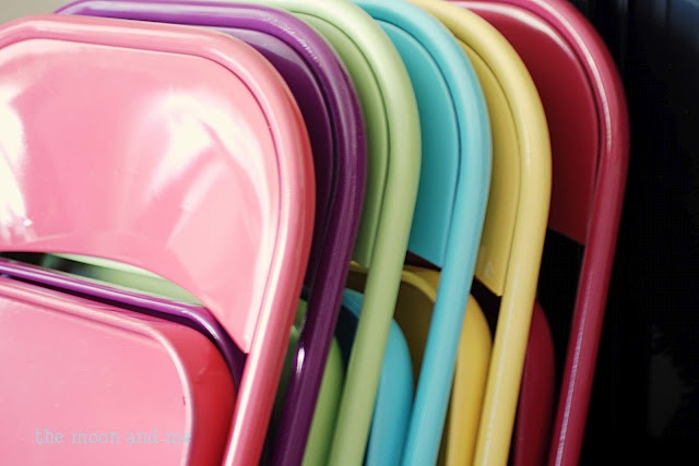 Folding metal chairs are in every GoodWill store!  Just use metal, or automobile, spray paint~or take to auto body shop