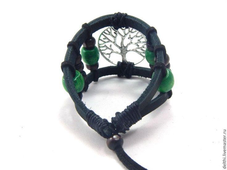 Купить Кожаный браслет Древо жизни с деревянными бусинами - браслет из кожи, кожаный браслет, браслет