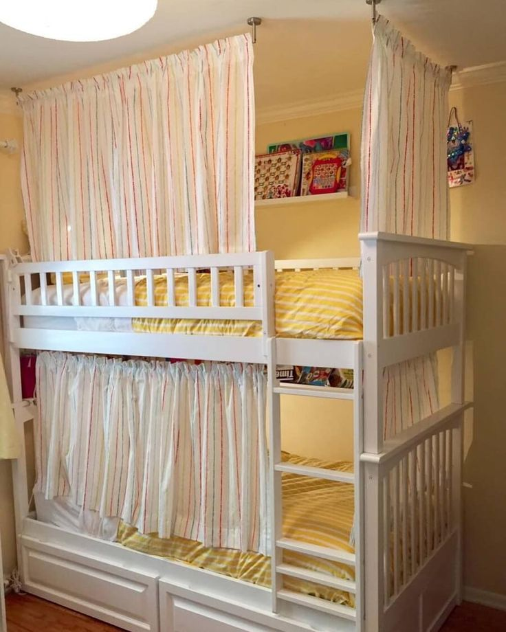 For kids who want their own private hideout, here's how to make curtains for their bunk beds. Link in bio.