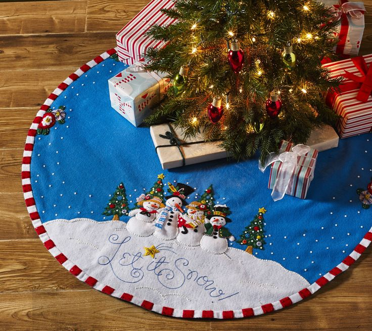 Let it Snow Bucilla Christmas Tree Skirt kit from Mary Engelbreit