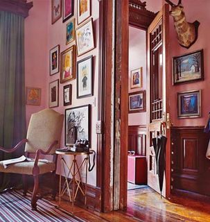 Wes Anderson interior decorating: Styles Blog, Wes Anderson, Interiors Design, Pink Rooms, Deer Head, The Royals Tenenbaum, Pink Wall, House, Domino Magazines