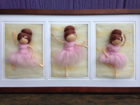 Custom Needle Felted Painting 3 5x7s by WoolyRooDolls on Etsy, $160.00 Ballet Art