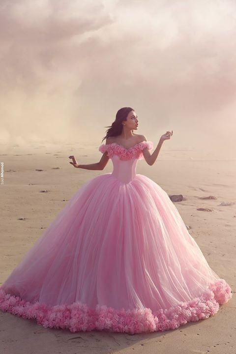 Pink Ball Gown Quinceanera Dress Sweet 16 Tulle Prom Birthday Evening Party Over | eBay