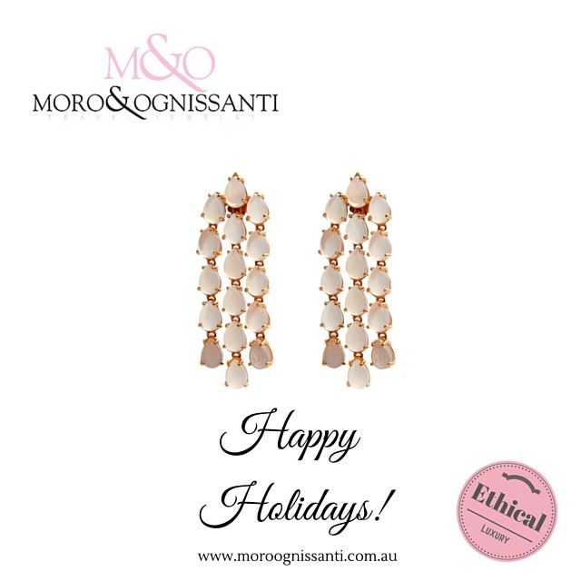 Niagara long earrings finished in 18kt rose gold with milky rock quartz (cabochons cut). Available now in store at AU$845.13  www.MOJewels.com Check discount!