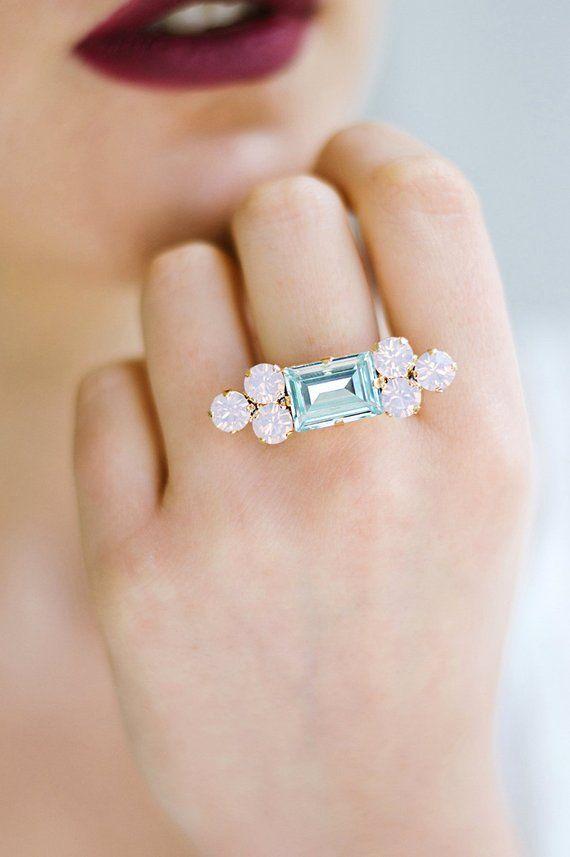 Aquamarine Ring Swarovski Cocktail Ring Statement Ring Swarovski Ring Rose Quartz Serenity Crystal Bridal Earrings Pastel Jewelry Stylish Jewelry