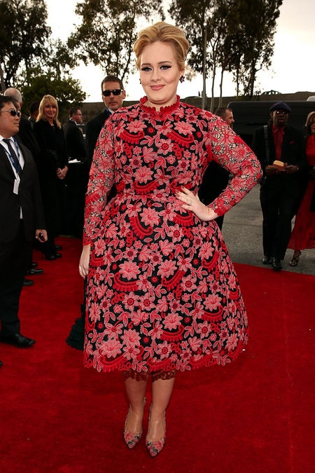 Adele - The singer broke out of the monochrome mold in this retro 70s frock at the 2013 Grammys. Love or loathe her new look?
