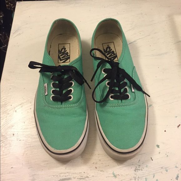 LIKE NEW TEAL VANS SIZE 8 Gorgeous vans, low profile sides, have a little big of a black ish hue where the socks would be but they have never been worn might be just from in the store. No trades, questions welcome offers through offer button only!  Vans Shoes Sneakers
