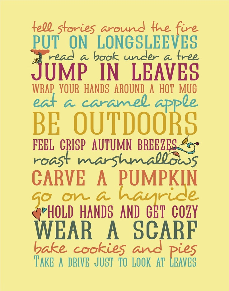 Autumn 11x14 Typography Print  - Seasonal Activities - Mustard Yellow - Illustrations and Word Art - Typography Art Print - Autumn Harvest. $35.00, via Etsy.