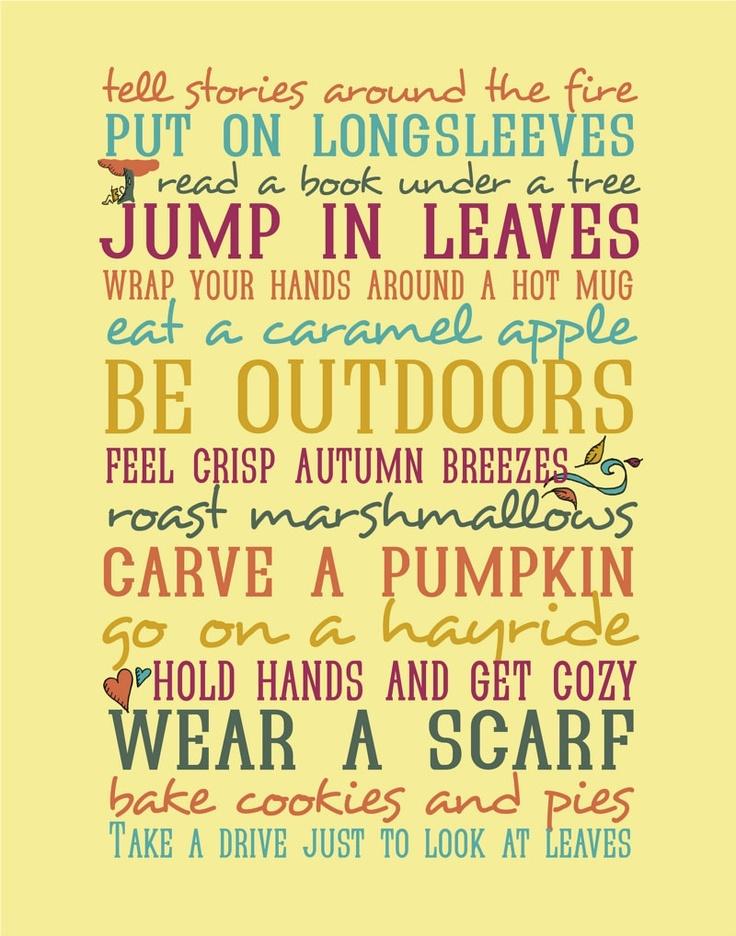 Autumn 11x14 Typography Print  - Seasonal Activities - Mustard Yellow - Illustrations and Word Art - Typography Art Print - Autumn Harvest. $35.00, via Etsy.Pumpkin Spices, Buckets Lists, Subway Art, Summer Picnics, Autumn Activities, Autumn Fall, Fall Autumn, Things To Do