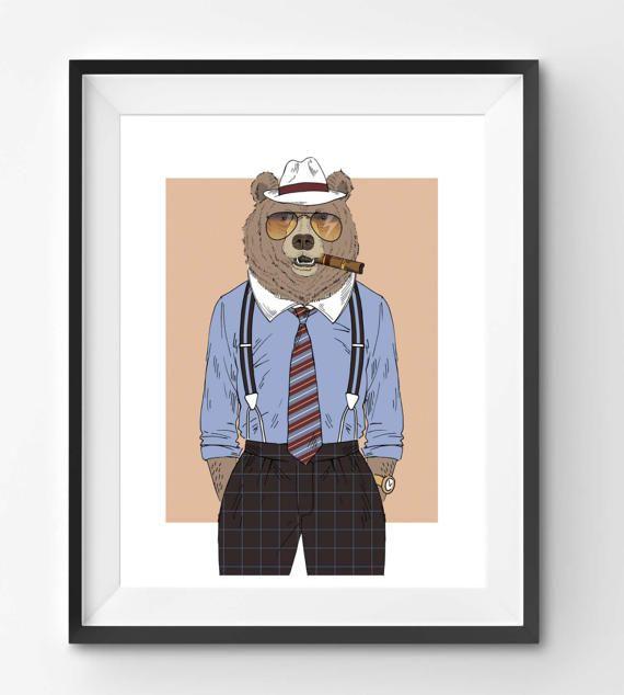 Old Business Man Bear Animal Print Fashion Animal Bear