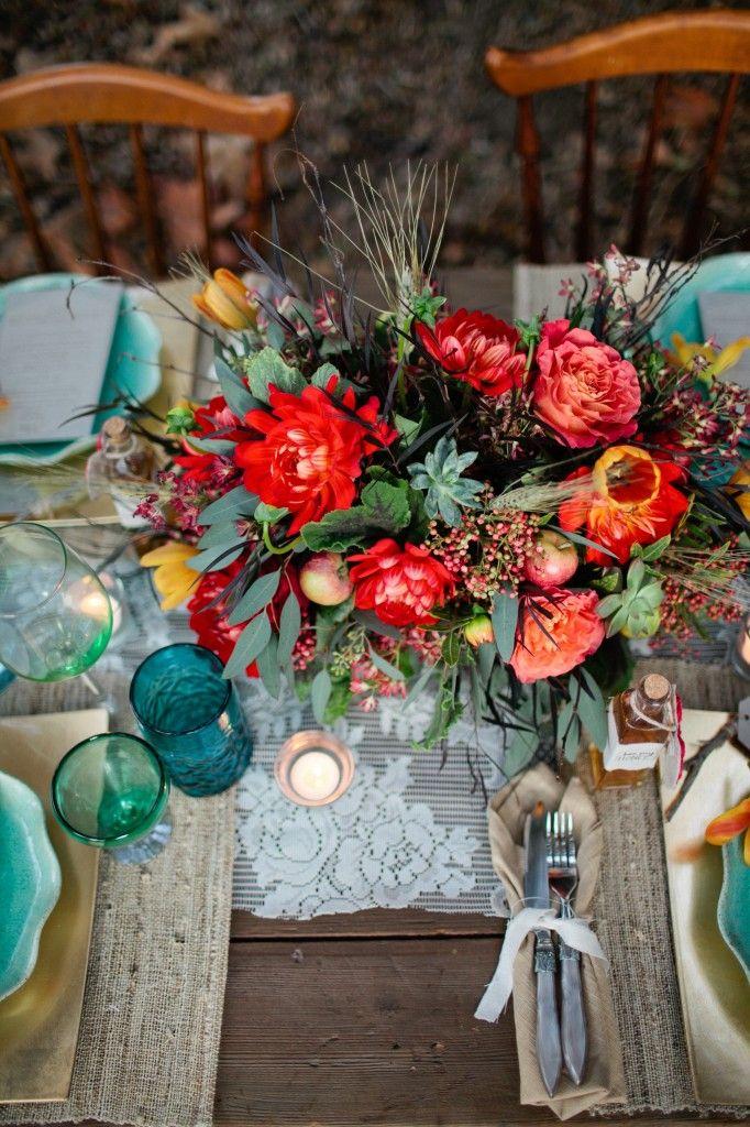 bohemian inspired centerpiece: Rustic Colors, Colors Combos, Boho Chic, Tables Sets, Flowers Centerpieces, Chic Wedding, Colors Combinations, Colors Schemes, Rustic Wedding