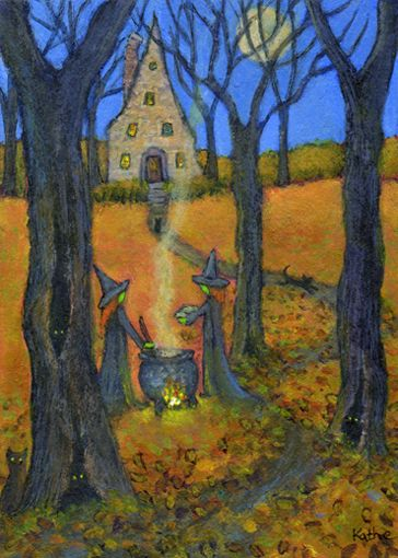 'The Book and the Brew' halloween autumn cauldron witch cat art by Kathe Soave, ACEO art card