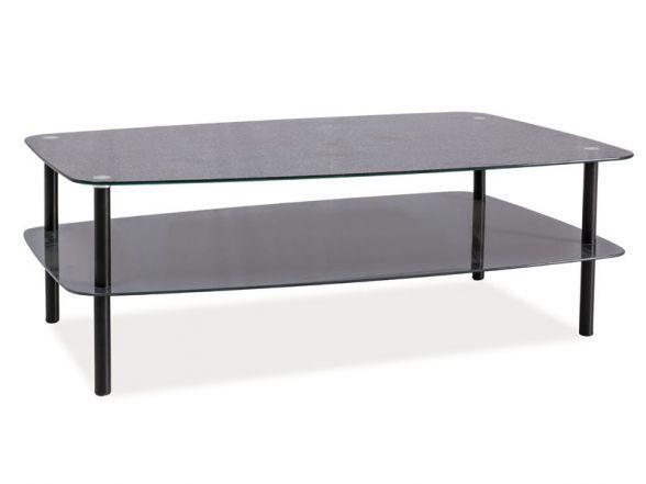 Ława ELSA to nowoczesna ława pokojowa. Podstawa ławy wykonana jest z malowanego metalu na kolor czarny. Blat główny wraz z półką są o barwie szary kamień ze szkła hartowanego. http://mirat.eu/lawa-elsa,id29113.html