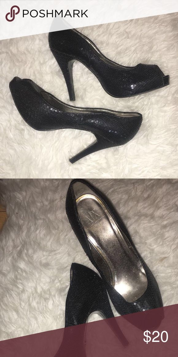 Black Peeptoe Pumps Black sequin Pumps. Worn but in great condition! :) A/X Armani Exchange Shoes Heels