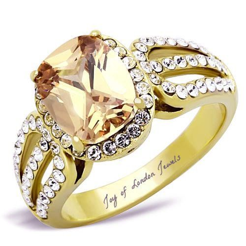 A Perfect 14K Gold 3CT Oval Cut Champagne Russian Lab Diamond Halo Ring