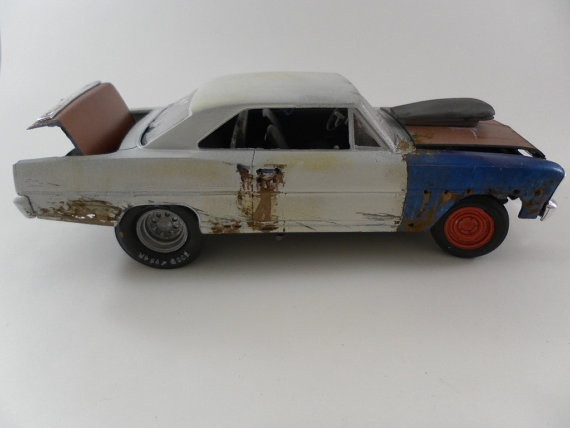 Wrecked Cars: 1966 Chevy Nova 1/24 scale model car in white by classicwrecks, $70.00