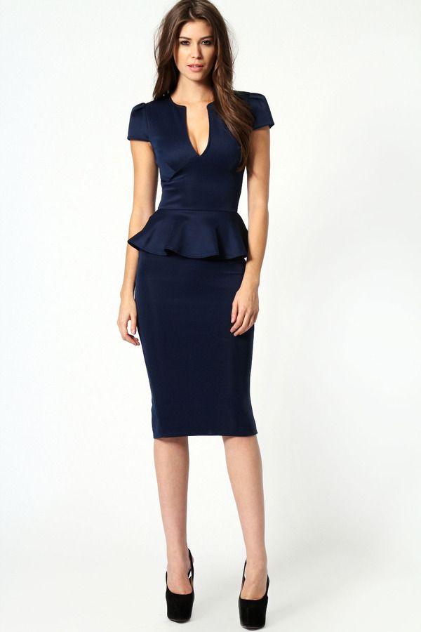 Emily Slit Neck Cap Sleeve Peplum Midi Dress #navy #blue #peplum #dress #fashion #sexy #professional