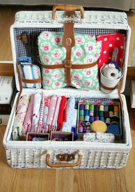 Picnic basket craft storage. Might have to steal - I mean acquire - Mum and Dad's unused one.
