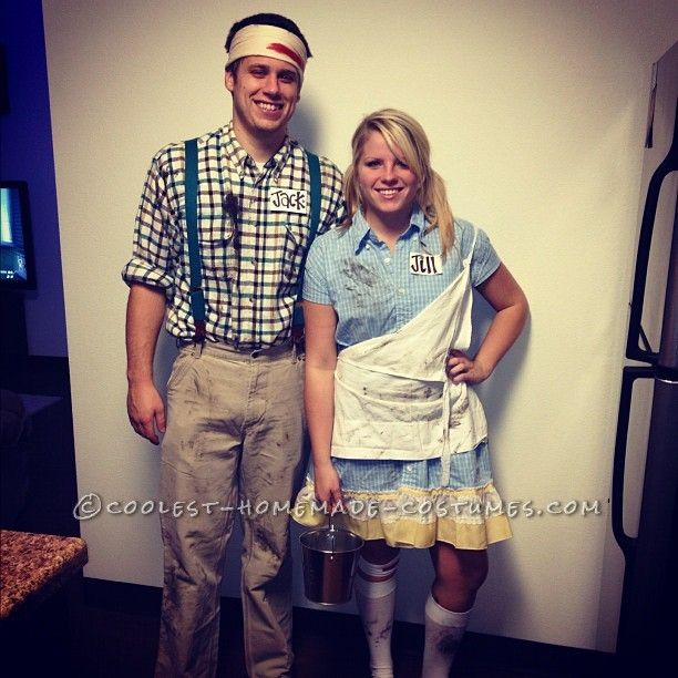 Jack and jill after they fell down the hill couple costume for Jack e jill house