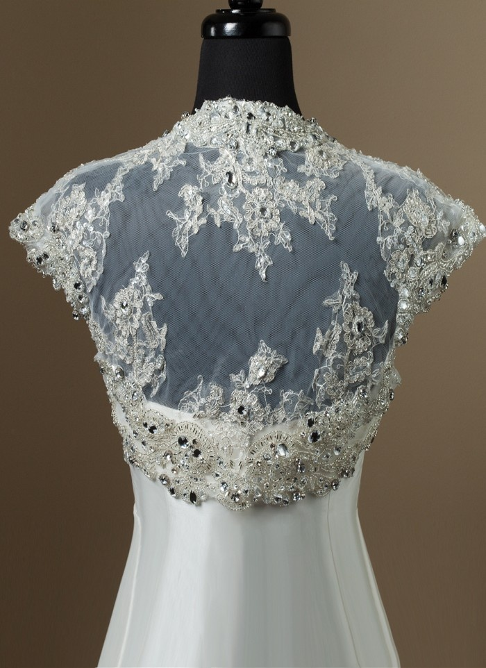 Heavily beaded tulle sleeveless bolero bridal for Wedding dress lace bolero