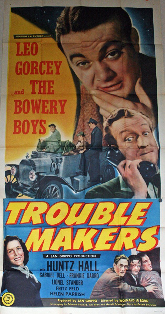 """Directed by Reginald Le Borg.  With Leo Gorcey, Huntz Hall, Gabriel Dell, Frankie Darro. Slip and Sach are in the sidewalk star-gazing business when they see a murder committed in a room at the El Royale Hotel, blocks away. In spite of the fussy-and-fidget objections of the hotel manager, Andre Schmidtlapp, the Bowery Boys and their friend Police Officer Gabe Moreno search the murder room and find nothing beyond learning that the room is occupied by """"Silky"""" Thomas. Police Captain ....."""