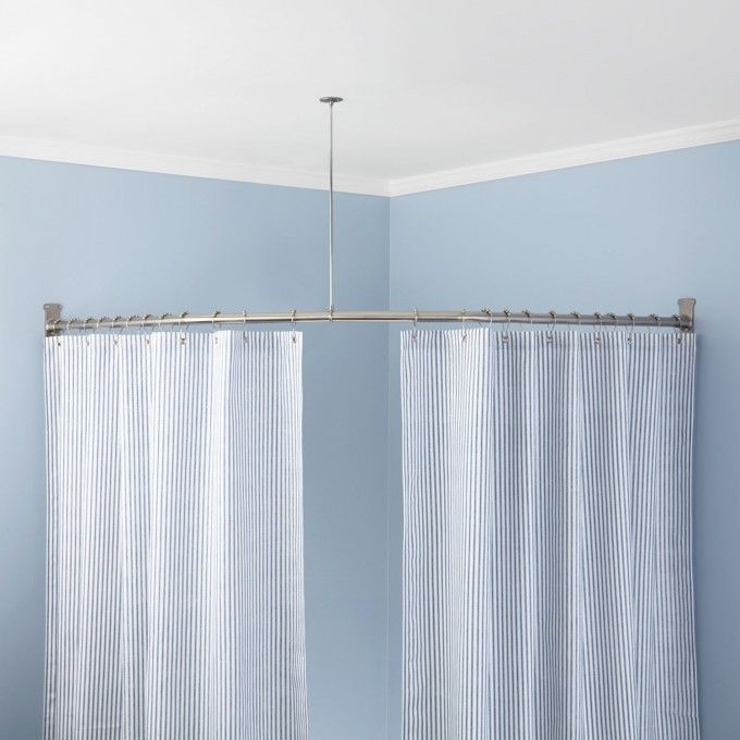 Neo Angle Shower Rod And Ceiling Support From Signature Hardware I Think We Could Make This Work For An Outdoor