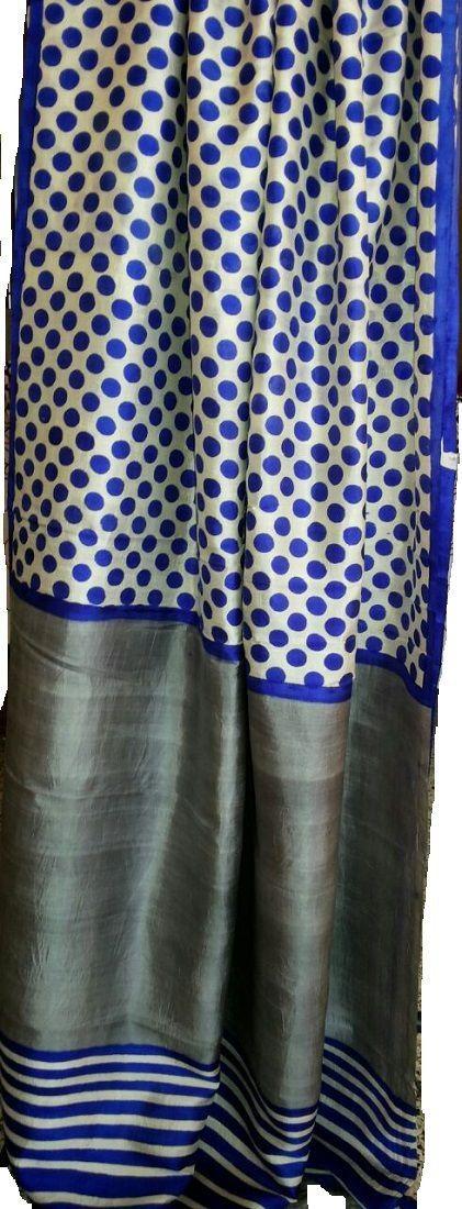 Blue Polka Dots Bengali Pure Silk Saree Price: 7,500INR