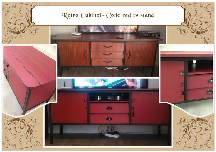 Retro sideboard converted to Plasma unit - Antique Oxide red