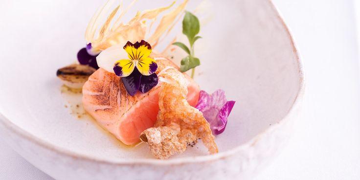 Wester Ross seared salmon loin, fennel pollen, sweet onion, garden hints