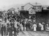1 - Sunday School procession in lower Albert Street, Brisbane, ca. 1886 (Contributed by: QldPics) Men, women and children marching with bann...