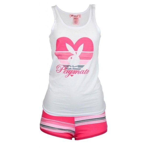 Playboy Playmate Women 2 pc Short Pants Pajamas ($16) ❤ liked on Polyvore featuring intimates, sleepwear and pajamas