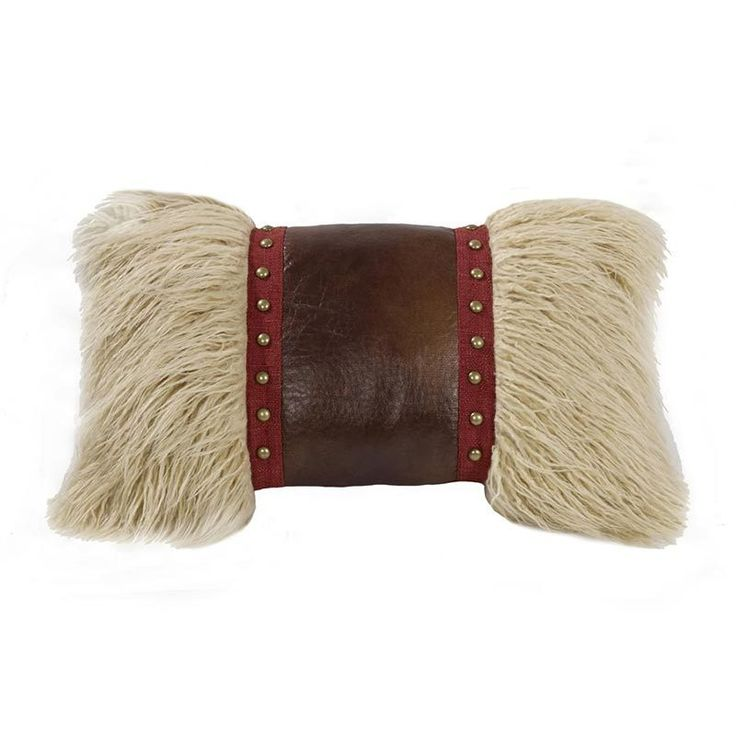 Hiend Accents Mongolian Fur Pillow with Faux Leather and Studs