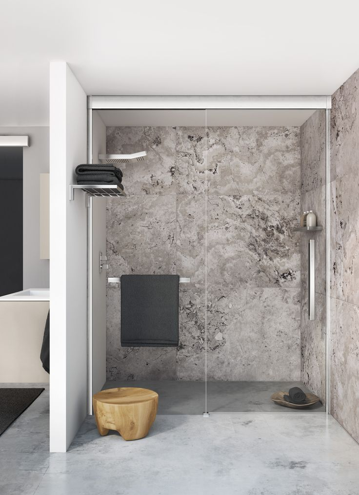 Mampara de ducha corredera con posibilidad de instalar for Toallero para ducha