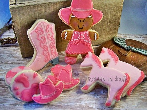 Pink cowgirl boot cookies!! :D