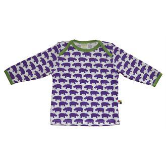 Økologisk bluse, lilla næsehorn