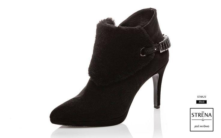 Botim de camurça preta com double-face de cordeiro, salto de 8cm e plataforma de 1cm. BOTIM CHIC STAR: Quentes, confortáveis e com estilo Casual Glamour.