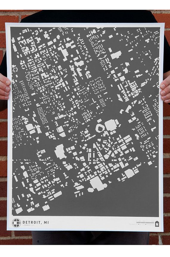 Detroit In World Map%0A SALE CityFabric Detroit Map Print Grey by CityFabric on Etsy