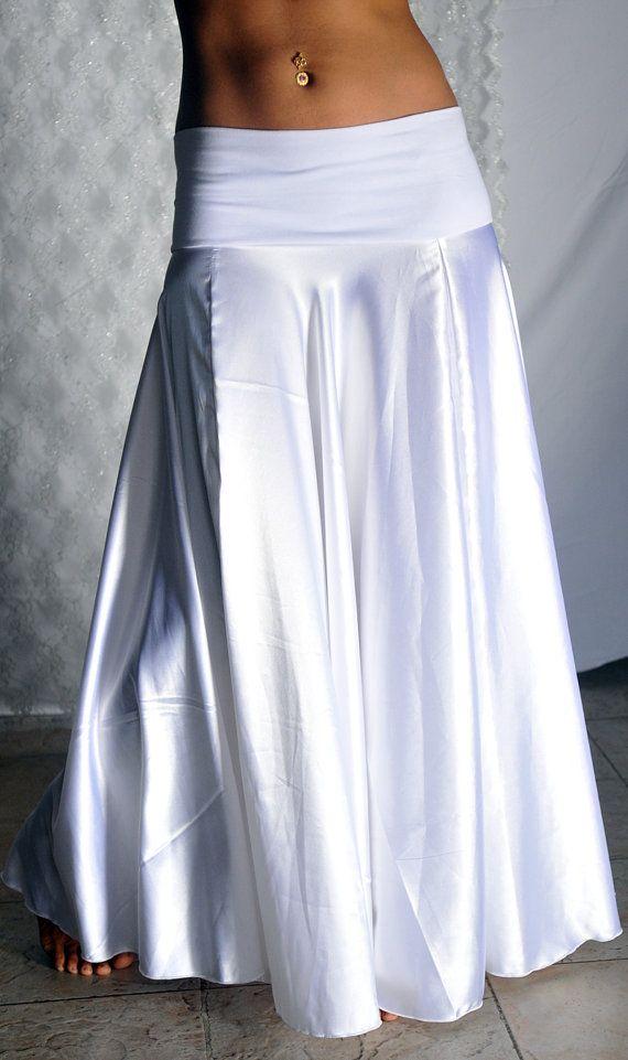 Claire Long Skirt in white satin and white lycra por PoisonBabe, $95,00