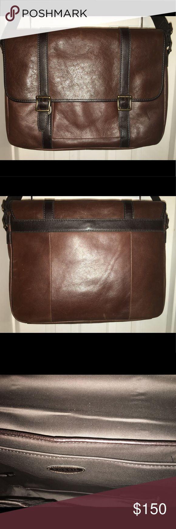 Leather messenger bag Two-toned brown leather messenger bag with outer magnetic closing pocket, inside laptop compartment. Includes dust bag. NEVER USED. Stored in dust bag. Fossil Bags Laptop Bags