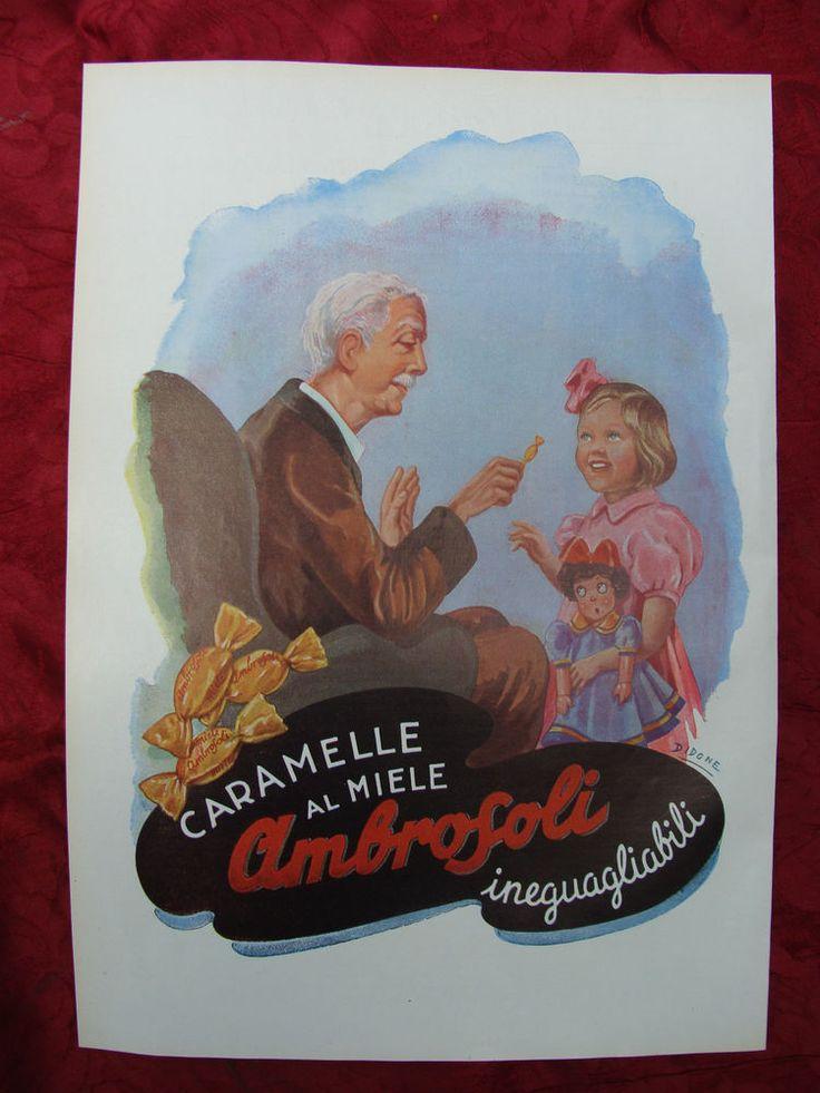 pubblicità AMBROSOLI CARAMELLE anno 1953 bambini bambole alimentari cartoline