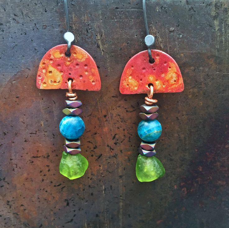 Red copper dangle and drop earrings w/ blue green Apatite/ Rainbow Hematite/ colourful/ boho/ ethnic jewellery/ OOAK/ Artisan/ Gifts for her by CopperLarkStudio on Etsy