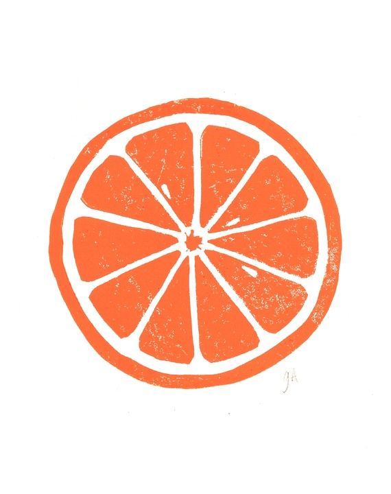 LINOCUT PRINT Orange letterpress poster citrus by thebigharumph