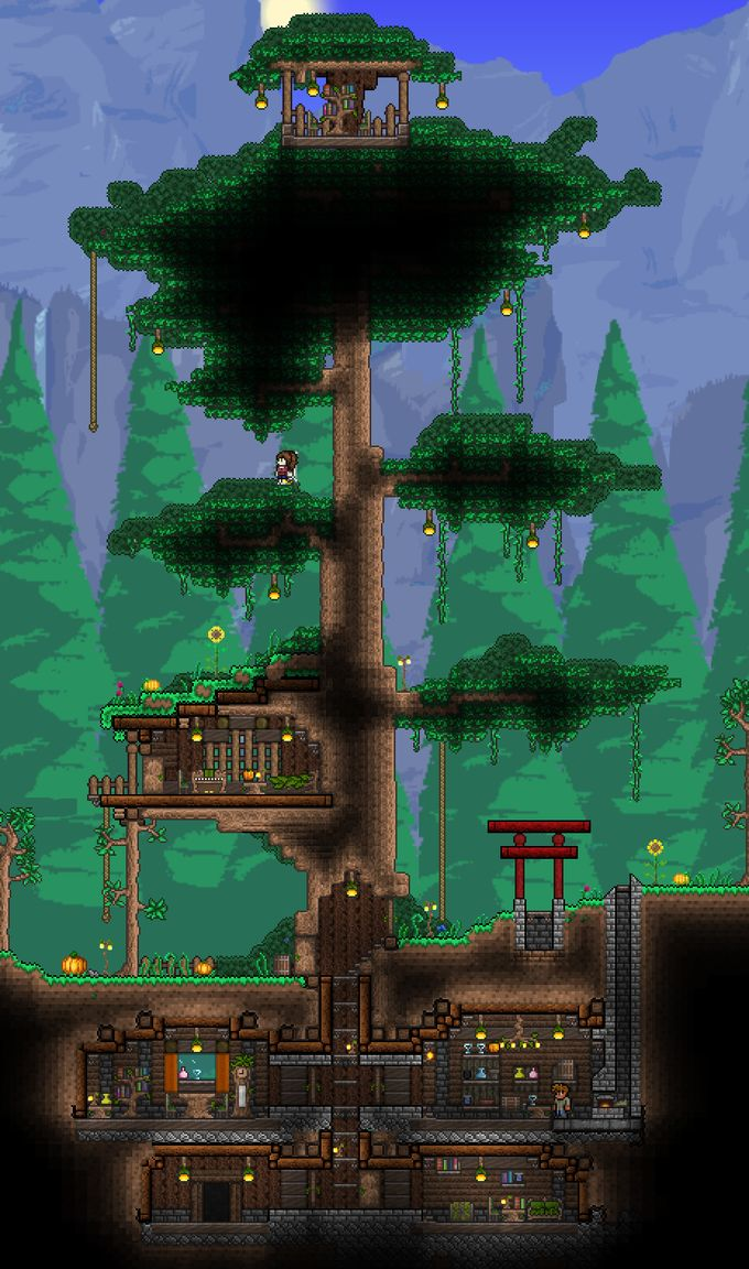 17 best images about terraria on pinterest hanging for Best house designs terraria